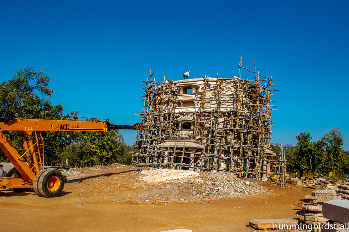 Construction work is going on for the temple