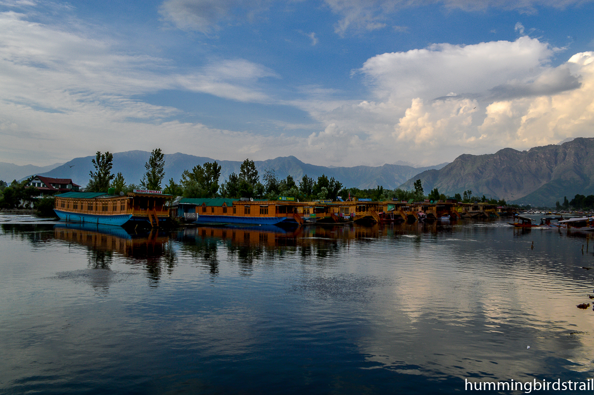 Houseboats on the bank of Dal Lake