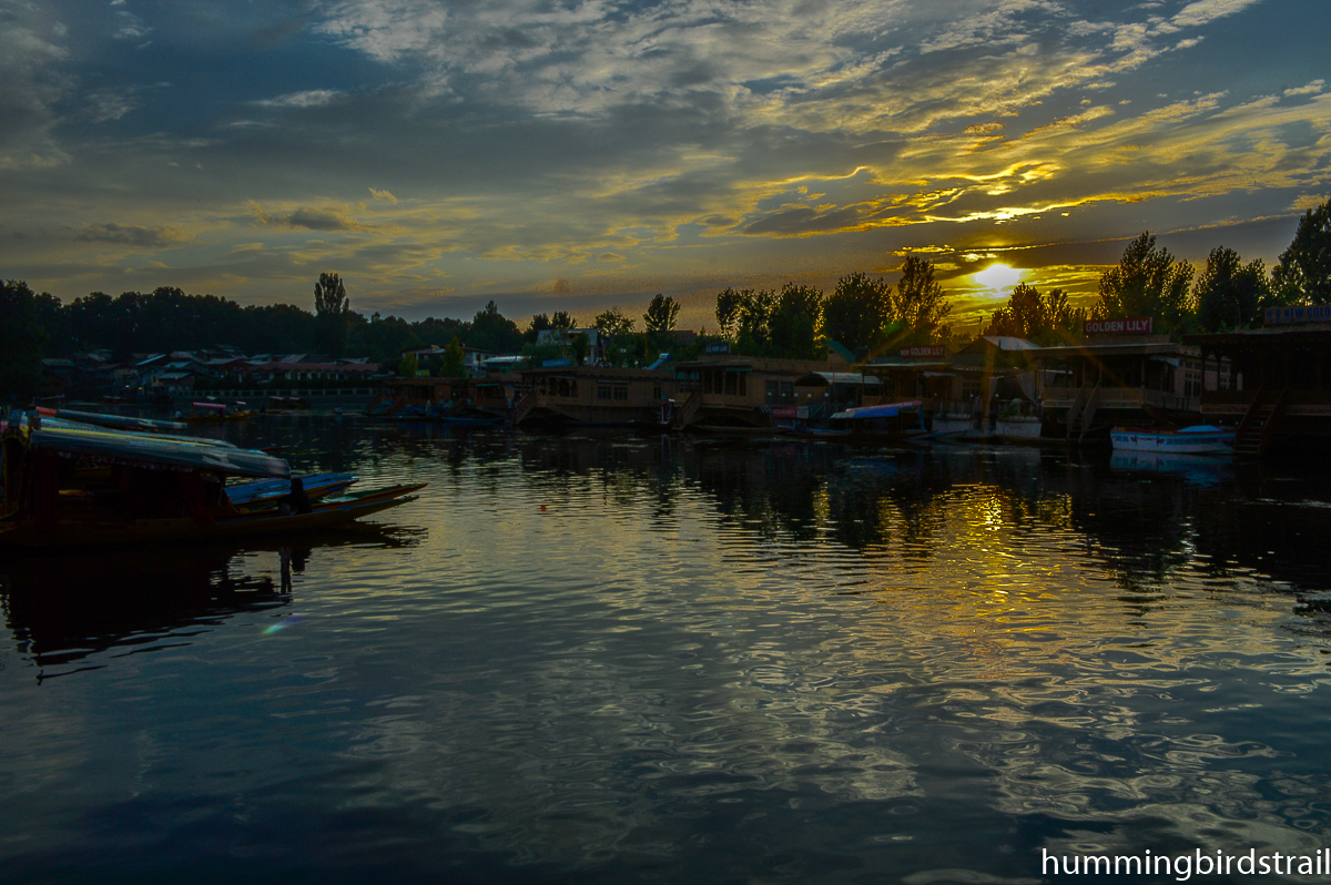 Romantic Sunset from the bank of Dal Lake